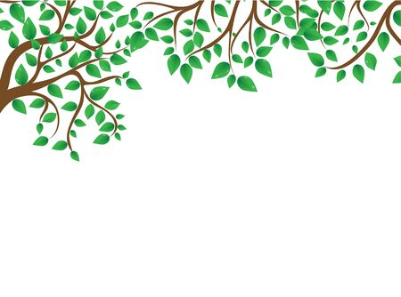 woodblock: Green branch on the white background