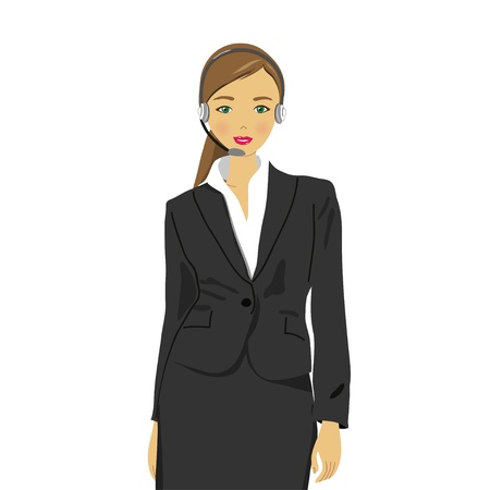 Woman wearing headset in office, receptionist Stock Vector - 13994747