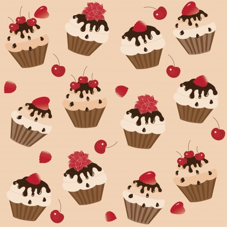 Sweet cakes on a brown background, vector image Vector