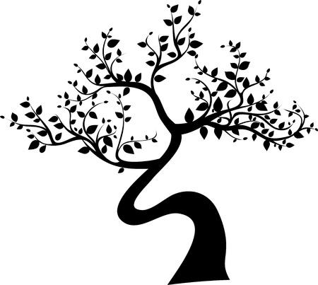 albero della vita: silhouette albero nero isolato su sfondo bianco