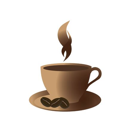 Coffee golden cup on brown background, vector Stock Vector - 13994752