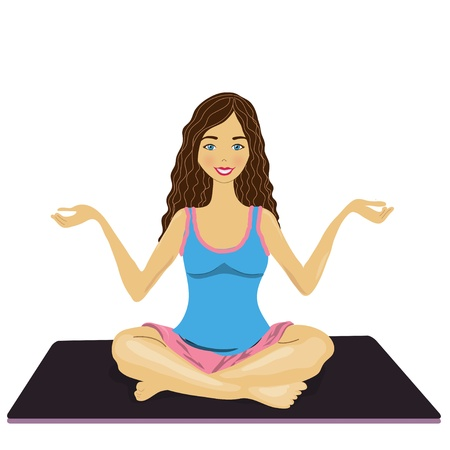 woman practices yoga on the mat Stock Vector - 13994748