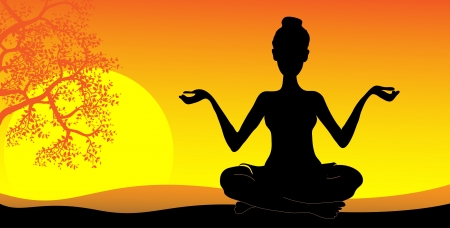 silhouette of a girl practicing yoga at sunset Vector