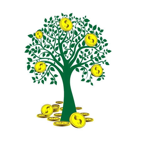 money tree isolated on White background   illustration Stock Vector - 14059896