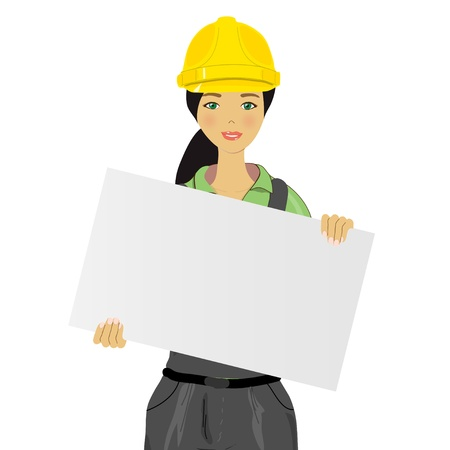 woman close up: woman worker holding an board Illustration
