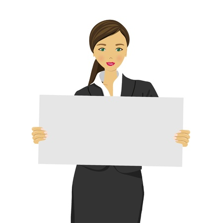 Portrait of young woman with blank white board  Vector