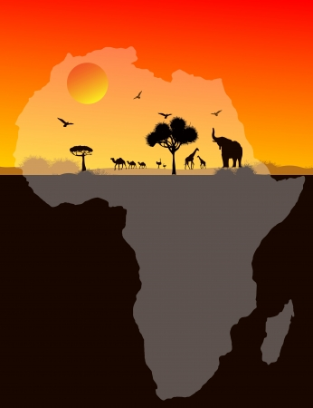 map of africa: Africa animals over a map of Africa, vector image