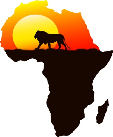 kenya: One lion in the background of the setting sun, vector