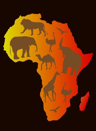 Africa animals over a map of Africa,  Vector