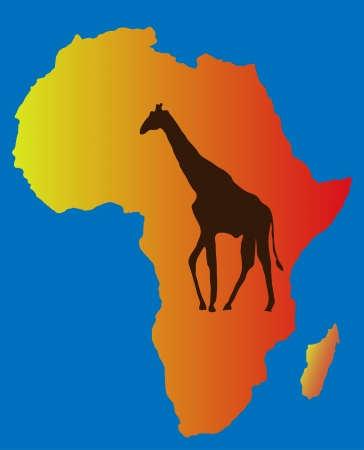 camelopardalis: One giraffe in the background map silhouette ,