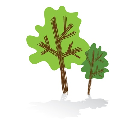Tree icon with reflection, Vector