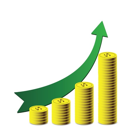 stockmarket chart: green arrow, a symbol of success,