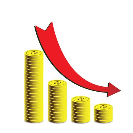 regress: Busines graph with money and arrow,  Illustration