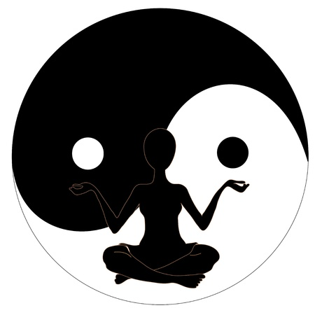 ayurveda: yin yang symbol and Yoga, Illustration