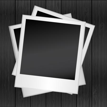 grunge photo frame: Cornice per foto sullo sfondo albero di legno, vettore