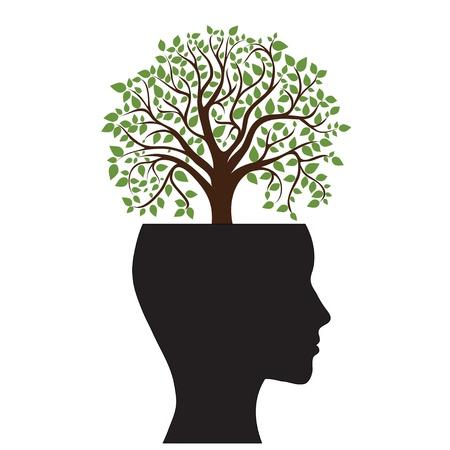 psicologia: Árbol silueta de la cabeza de un hombre s, la imagen Vectores
