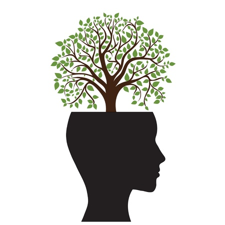 Tree silhouette of a man s head, image Vector