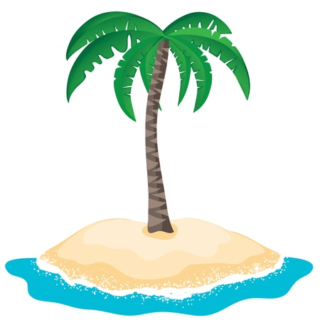 palm tree on the tropical island Vector