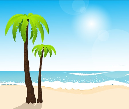 Perfect tropical white sand beach with palm trees Stock Vector - 14410636