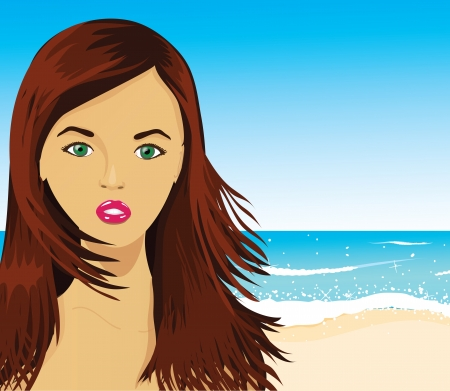 Woman on the beach, vector