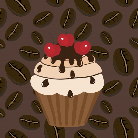 Sweet muffin on a coffee background Vector