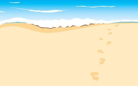 footprints in sand: footprints on sand beach along the edge of sea, image Illustration