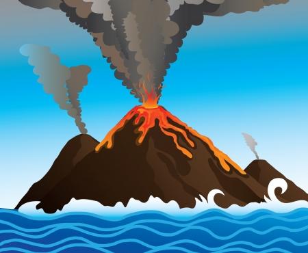 catastrophe: puissant volcan dans l'oc�an, l'image Illustration