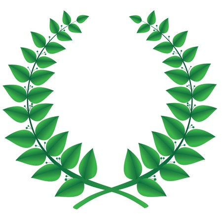ancient roman: Green laurel wreath isolated, vector