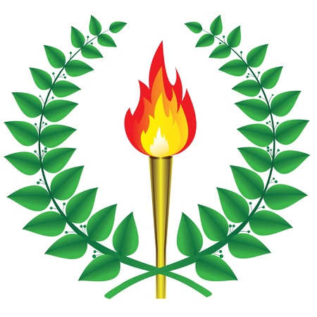 laurel wreath and a torch Vector