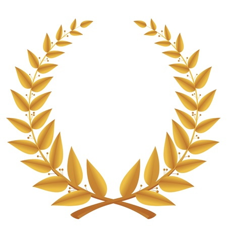victor: Gold laurel wreath isolated, vector