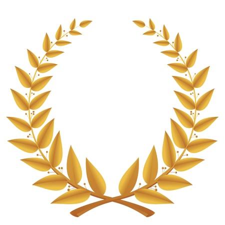 Złoty wieniec laurowy wyizolowanych, wektor Ilustracje wektorowe