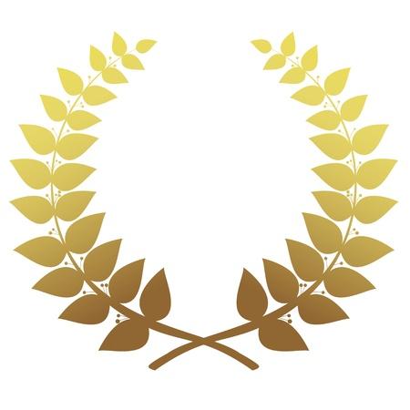 laurel leaf: Corona de laurel de oro aislado, vector