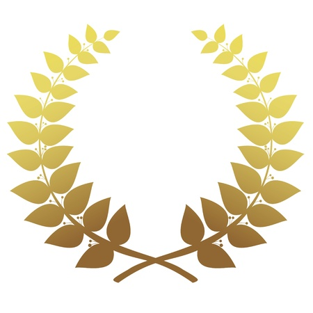 fame: Gold laurel wreath isolated, vector