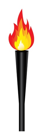 torch: sports competition torch with flame isolated  Vector Illustration