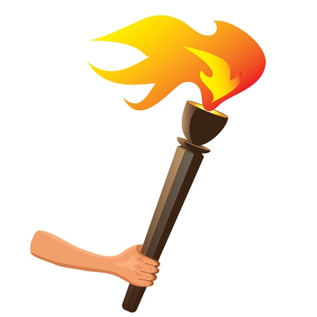 sports competition torch with flame isolated  Vector Illustration