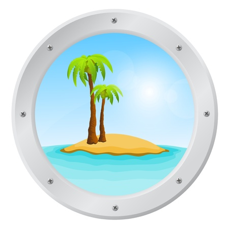 ship porthole: Porthole overlooking the sea and tropical island Illustration