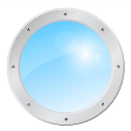 Porthole of an jet airplane with a sunny sky