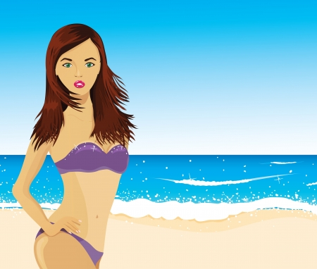 Woman on the beach, vector Stock Vector - 14464671