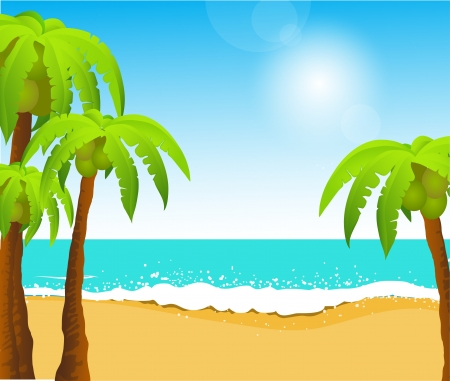 Perfect tropical white sand beach with palm trees Vector
