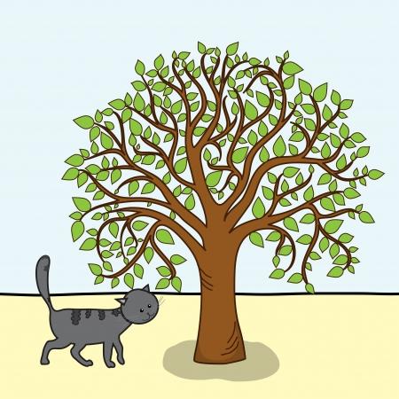 arboles de caricatura: Caricatura del �rbol y el gato, imagen vectorial, EPS 10