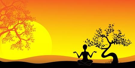 back lit: silueta de una chica practicando yoga al atardecer Vectores
