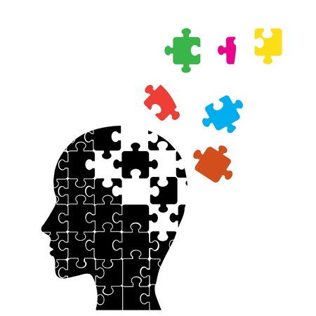 Memory loss man, presented in the form of secondary particles of the brain Stock Vector - 14464698
