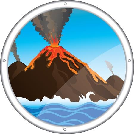 ausbrechen: Cartoon-Vektor-Blick auf den Vulkan aus dem Fenster des U-Boot, Illustration
