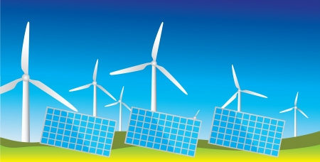 alternative energy sources: Generators of alternative energy sources, wind turbines and solar panels Illustration
