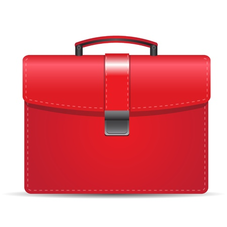 Red suitcase isolated over white  Vector