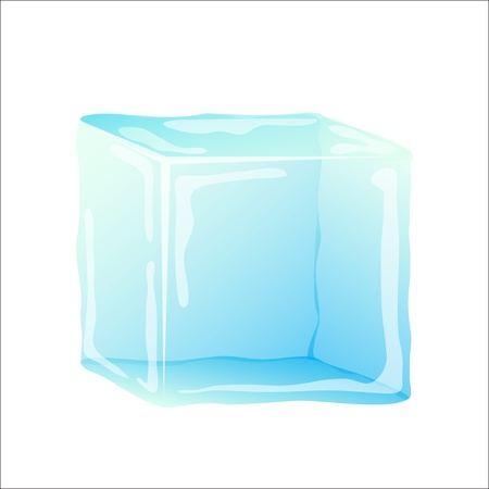 frozen glass: Ice cube isolated on white