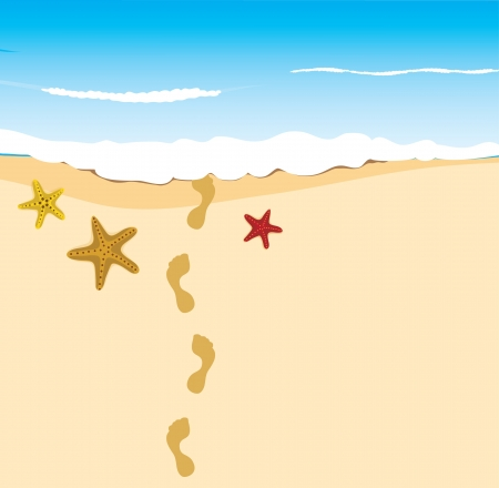 footprints in sand: stars on the sand with footprints