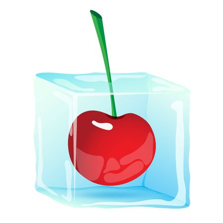 ice cube: Ice cube with berry cherry Illustration