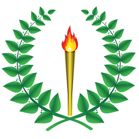 Laurel wreath and the olympic torch Vector