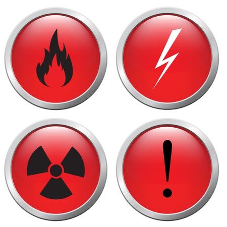 laser radiation: set of buttons, the danger signals Illustration